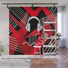 Red Love Gamer Headset Wall Mural