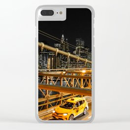 New York city: yellow cabs on Brooklyn bridge Clear iPhone Case