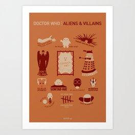 Doctor Who  Aliens & Villains (alternate version) Art Print