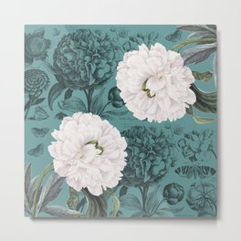 White Peony Teal Lacy Romantic Metal Print