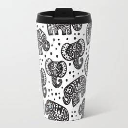 Beautiful pattern Indian Elephant with polka dot ornaments Travel Mug