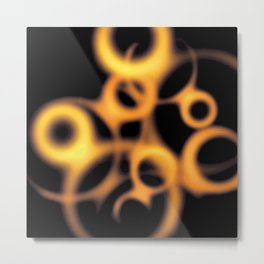 Soft Gold and Copper Floating Circles Metal Print