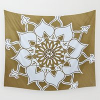golden Wall Tapestries featuring Golden by Aries Art
