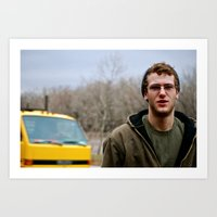 Colin and a yellow truck Art Print