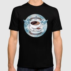 Coffee To The Rescue Black Mens Fitted Tee MEDIUM