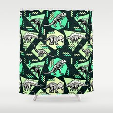 90's Dinosaur Skeleton Neon Pattern Shower Curtain