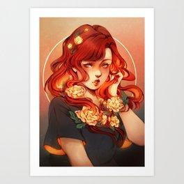 Red hair, White flowers Art Print