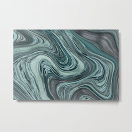 Turquoise Glamour River Mineral Marble Metal Print