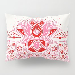 Lotus Blossom Mandala – Red & Pink Palette Pillow Sham