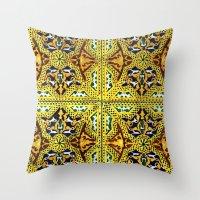 arabic Throw Pillows featuring Arabic Tiles by Barbo's Art