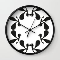 angels Wall Clocks featuring Angels by by Ingela