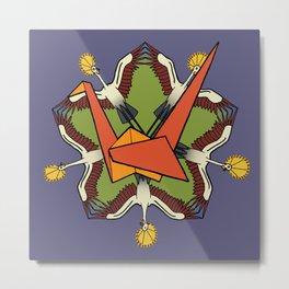 paper crane and pentagram Metal Print