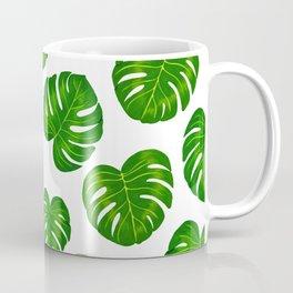Green Tropical Monstera Deliciosa Leaves Coffee Mug