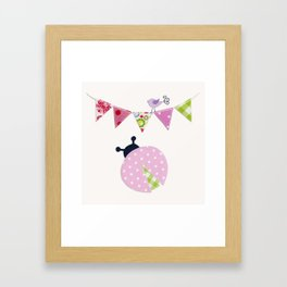 Ladybug with party flags Framed Art Print