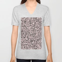 'Speckle Party' Soft Pink Black White Dots Speckle Terrazzo Pattern Unisex V-Neck