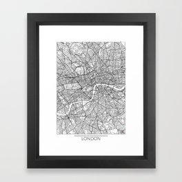 London Map White Framed Art Print