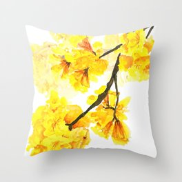 yellow trumpet trees watercolor yellow roble flowers yellow Tabebuia Throw Pillow