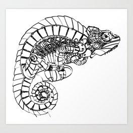 Mechanical Chameleon Art Print
