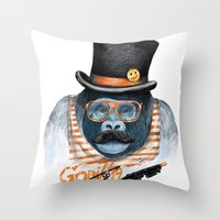 gangster Throw Pillows featuring Gangster by dogooder