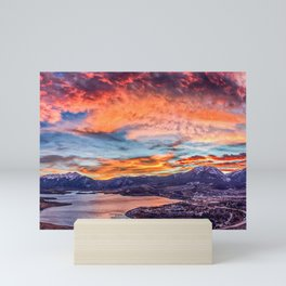 Sunset Pano // Beautiful Rocky Mountain Lake View Colorado Red Orange Sky Mini Art Print