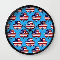 patriots Wall Clocks featuring American Shamrock by The Wellington Boot