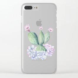 In Love Rose Cactus + Succulents Clear iPhone Case