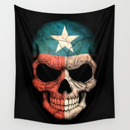Dark Skull with Flag of Texas Wall Tapestry