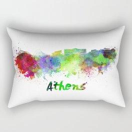 Athens skyline in watercolor Rectangular Pillow