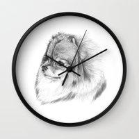 pomeranian Wall Clocks featuring Pomeranian by Doggyshop