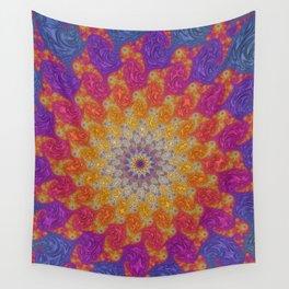 Rainbow Fractal Mandala Wall Tapestry
