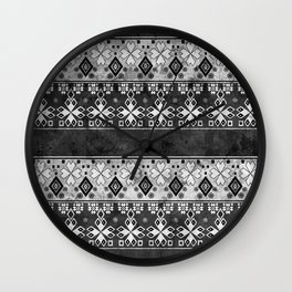 Ethnic black and gray ornament . Grunge . Wall Clock