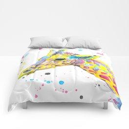 Giraffe - Watercolor Painting Comforters