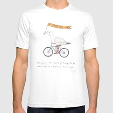 seagulls on bicycles Mens Fitted Tee SMALL White