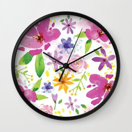 Whimsical Girly Flower Pattern Wall Clock