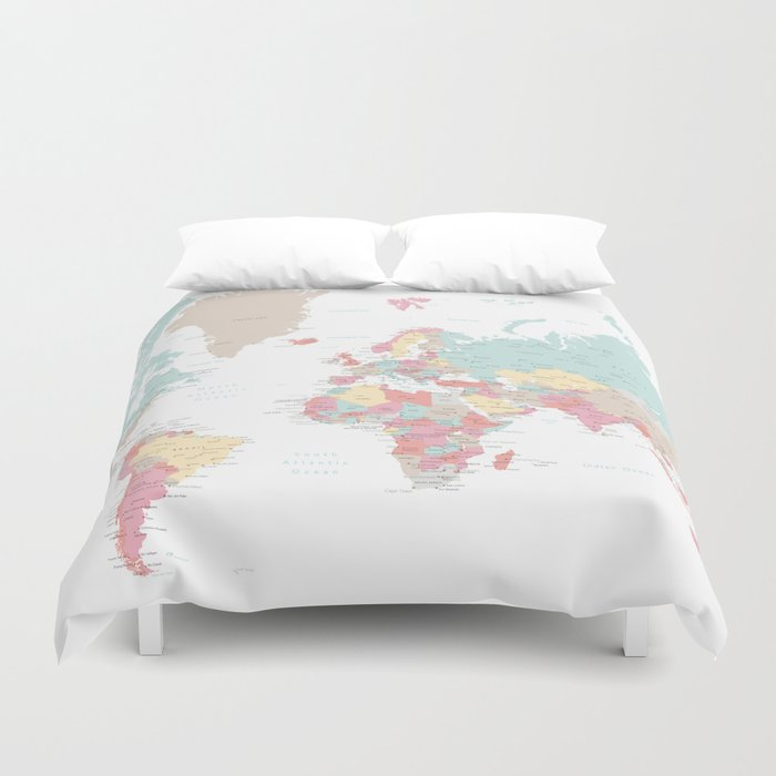 Pastel world map with cities sizes large xl only duvet cover by pastel world map with cities sizes large xl only duvet cover gumiabroncs Images
