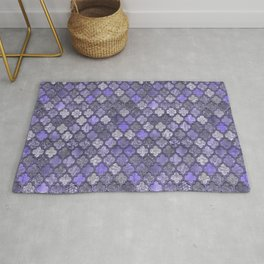 Shabby Chic Moroccan Tiles Faded Bohemian Luxury From The Sultans Palace In Shades of Purple Rug