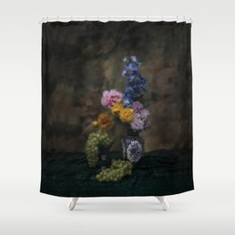 Still life with flowers and grapes Shower Curtain