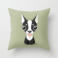 french bulldog Throw Pillows featuring French Bulldog by Freeminds