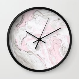 Peaceful Pink Gold & Gray Marble Print Wall Clock