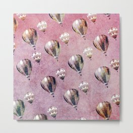 Vintage Hot Air Balloons Pink purple Retro Floral Damask Metal Print