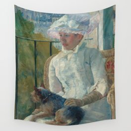 Young Girl at a Window Oil Painting by Mary Stevenson Cassatt Wall Tapestry