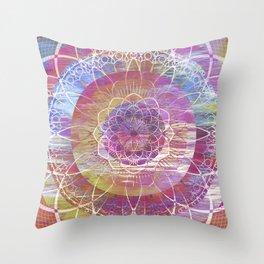 Glitch Mandala Throw Pillow