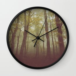 Wood in winter with fog Wall Clock