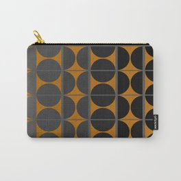 Black and Gray Gradient with Gold Squares and Half Circles Digital Illustration - Artwork Carry-All Pouch