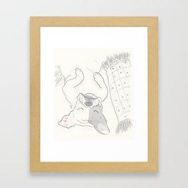 Topsy Turvy Snoozing Frenchie French Bulldog Black & White Framed Art Print