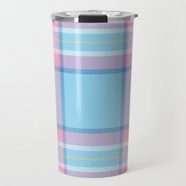 Blue & Pink Plaid Travel Mug