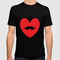 Mustache heart Mens Fitted Tee Black MEDIUM