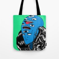 snl Tote Bags featuring Saturday Night Nightmare by Late Nite Draw