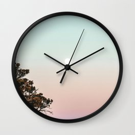 Rainbow Color Sunset // Incredible Clear Sky Photograph Through the Forest Trees Wall Clock