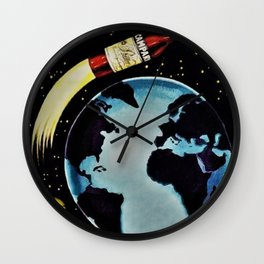 Vintage 1963 Rocket Bottle & Planet Bitter Campari Advertisement Wall Clock